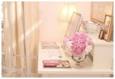 Pretty PINK Peony!!! - Nice desk, like the lamp, pictures, accessories and cool chair!
