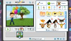 Sketch Sta #digitalstorytelling Easily create online animations with this fab tool for kids!  Tell stories using text, objects, puppets, and your own drawings. Lots of neat tools to choose from.Tutorials are great and get you going on your first animation right away.