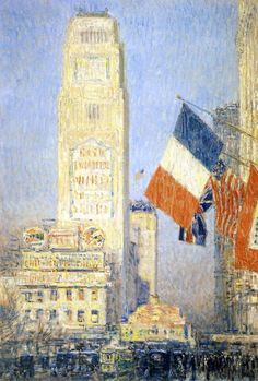 """""""The New York Bouquet, West Forty-Second Street,"""" Frederick Childe Hassam, 1917, oil on canvas, 35.38 x 23.38"""", private collection."""