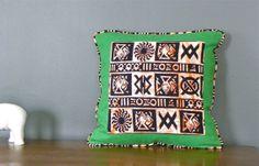 Green African Pillow, Tribal Pillows, Throw Pillow Cover,  African Print Decorative Pillow, 20 x 20 Two-Sided Pillow