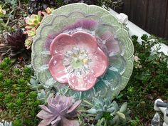.Drought Resistant Plate Flowers. #110.      Garden Yard Art glass and ceramic plate flower