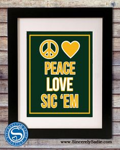Baylor University Bears Peace Love Sic 'Em by SincerelySadieDesign, $9.95