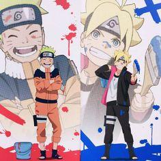 Naruto and Boruto are so alike. and Naruto Naruto Uzumaki, Naruto And Sasuke, Anime Naruto, Himawari Boruto, Naruto Fan Art, Sarada Uchiha, Naruto Cute, Naruhina, Gaara