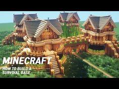 Minecraft : Large oak Survival Base Tutorial |How to Build in Minecraft Minecraft Farm, Minecraft Mansion, Minecraft Houses Survival, Minecraft Cottage, Easy Minecraft Houses, Minecraft House Tutorials, Minecraft Houses Blueprints, Minecraft Plans, Minecraft House Designs