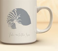 Nautical Coffee Mug Available in 4 Colors | Quick Ship! Nautilus Shell Mug | Nautical Coffee Mug Available in 11 oz., 15 oz.  | Gift for Her