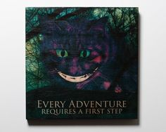 """Wonderland Photo Transfer Art on Wood 12x12: Cheshire Cat - Every Adventure Requires a First Step. This is a 12"""" x 12"""" Ready-to-Hang fine art mixed media photo transfer artwork. The photograph is transferred directly onto an 12"""" x 12"""" 7/8"""" cradled birch wood panel. All of my images are transferred by hand and accented with acrylic paints, pigments and other media to create a truly unique piece of fine art every time. Finally, each piece is varnished with a UV and/or archival varnish to..."""