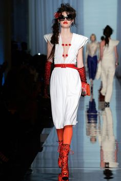 Jean Paul Gaultier | Spring 2017 Couture | 17 White belted sleeveless midi dress