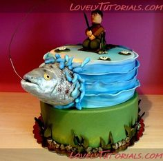 Gone fishing cake – jigging Gone Fishing Cake, Fishing Cakes, Fly Fishing, Crappie Fishing, Fishing Tackle, Fishing Gifts, Fishing Rods, Fishing Grooms Cake, Women Fishing