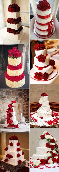 40 Inspirational Classic Red and White Wedding Ideas is part of Wedding cake red The classic deep red is a favorite color of both valentine's day and Christmas day Red is passionate and joyful, a - White Wedding Cakes, Elegant Wedding Cakes, Wedding Cake Designs, Wedding Themes, Wedding Colors, Wedding Ideas, Rustic Wedding, Wedding White, Cupcake Wedding