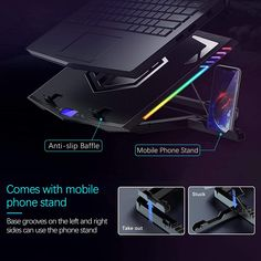 Moojay RGB gaming laptop cooling pad comes with a mobile stand, which can be installed on both the left and right sides to place your mobile phone and helps to view information easily. Laptop Cooler, Laptop Stand, Phone Stand, Large Fan, Small Fan, Laptop Cooling Pad, Mobile Stand, Metal Mesh, Bar Lighting