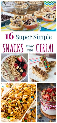 16 Super Simple Snacks Made With Cereal - From bars and snack mixes to parfaits and other treats, it's more fun to enjoy your favorite cereal in these easy snack recipes! There's options for healthy, indulgent, even gluten free and vegan!