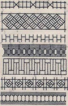 Blackwork Sampler based on fence patterns Image & project copyright Napa Needlepoint.