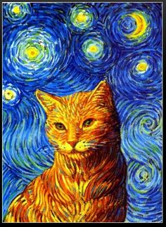 The Starry Night, featuring Theo... An homage to Vincent. KittyCommotion.com has more feline art on its Goodies for Pet Lovers page
