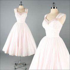 Vintage 1950s Dress  Pink Chiffon  Full Skirt by millstreetvintage, $325.00
