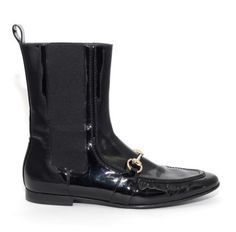 Gucci Black Patent Leather Flat Boots
