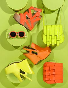 The higher and brighter the shoe the more it sounds like my closet! Neon Accessories, Fashion Still Life, Still Life Photography, Fashion Photography, Banners, Neon Colors, Colours, Green And Orange, Neon Yellow