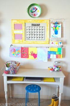 Kids Art & Homework Station Use console table w two chairs@measuringup  Color is a real starter for getting your kids to want to study in their own space.