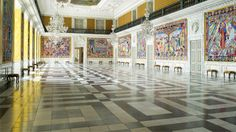 The Great Hall is the largest of the Reception Rooms, and it is 40 metres long and 10 metres high.for Queen Margrethe's 50th birthday in 1990, the Danish sculptor Bjorn Norgaard's 17 tapestries with motifs selected from 1000 years of Danish history, were mounted in the Hall