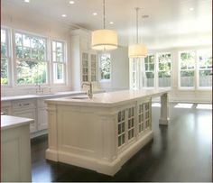 white and open/ love the island with room for stools at the end