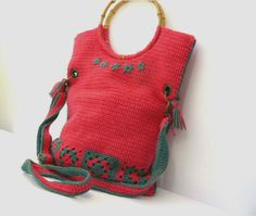 Crochet bag hot pink green granny squares by GrannyKnowsBest, $64.00