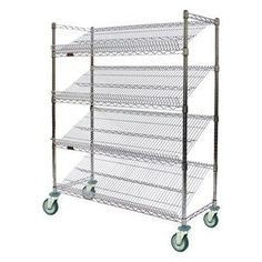 Wire Cart, Angled Shelf, L 36 x W 18 by Eagle Group. $603.29. Wire Cart, Angled Shelf, Load Capacity (Lb.) 400, Finish Zinc, Overall Length (In.) 36, Overall Width (In.) 18, Overall Height (In.) 72, Number of Shelves 4, Shelf Length (In.) 36, Shelf Width (In.) 18, Adjustable Increments (In.) 1, Caster Type Swivel, Two With Brake, Weight Capacity 300 Lbs. Each, Caster Material Polymer, Caster Dia. (In.) 5, Finish Zinc, Caster Width (In.) 1-1/4 Angled Wire Shelf Carts3...