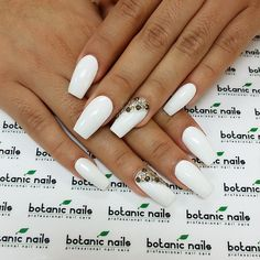botanicnails's photo on Instagram, white Coffin nails