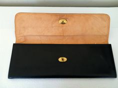 Vintage Black Leather Clutch Purse Made In by GrandmomsPennies, $40.00
