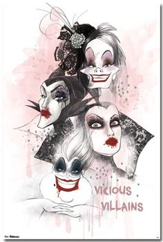 Queens of Darkness: Queen Grimhilde, Ursula, Maleficent, and Cruella De Vil. Heros Disney, Evil Disney, Dark Disney, Disney Villains, Disney Magic, Disney Art, Disney Movies, Disney Tattoos, Disney Halloween