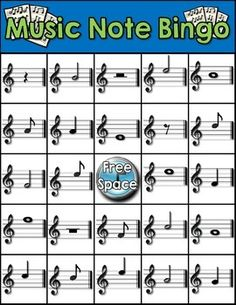 MUSIC NOTE BINGO - TeachersPayTeachers.com