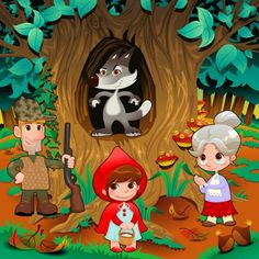 Buy Little Red Hiding Hood Scene by ddraw on GraphicRiver. Little Red Hiding Hood scene. Funny cartoon and vector illustration. High Resolution JPG f.