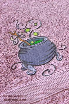 Купить Для настоящих Леди :) Полотенец с котлом. - брусничный, полотенце с вышивкой, красивое полотенце