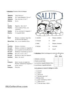 One-click print document French Language Lessons, French Language Learning, French Lessons, French Teacher, Teaching French, French Greetings, French Conversation, French Course, French Worksheets