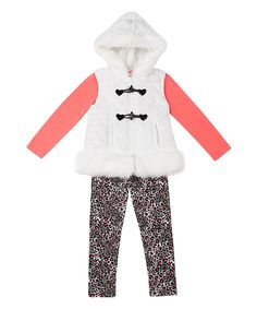 Look at this #zulilyfind! Little Lass White & Black Faux Fur Trim Vest Set - Infant by Little Lass #zulilyfinds