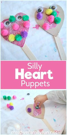 Silly Heart Puppets: an open-ended Valentines craft for your toddlers and presch. - Silly Heart Puppets: an open-ended Valentines craft for your toddlers and preschoolers - Toddler Valentine Crafts, Kinder Valentines, Valentine Theme, Valentines Day Activities, Valentines Day Party, Funny Valentine, Valentines Crafts For Preschoolers, February Toddler Crafts, Valentines Crafts For Kindergarten