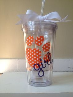 Orange & White Polka Dot Clemson Girl Double Walled Tumbler with paw from Decal Queen on Etsy