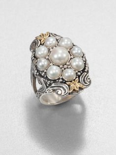 Konstantino Cultured Pearl Sterling Silver and 18k Yellow Gold Ring in White