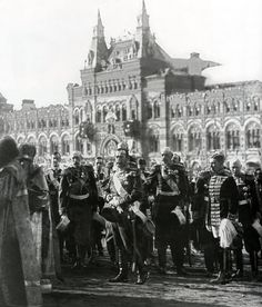 Nicholas II of Russia on Red Square. 1913, celebrating 300 years of the Romanov dynasty.