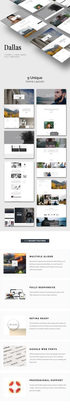 Dallas is a complete HTML5 & CSS3 template designed by minimal style which focus on 2 basic colors dark and white. The template fits perfectly for Portfolio, Photography and Blog sites. It comes with a hundred valid html files those built on all care for you. #HTMLTheme #Responsivetheme #creativetemplate