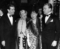 Look who's at the Cocoanut Grove on May 13, 1935? Screenwriter Alan Campbell is far left, while his wife, Dorothy Parker (another writer), is flanked by Frances and James Cagney. (LAPL) Bizarre Los Angeles