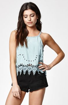 Cutout Embroidered Goddess Neck Tank Top