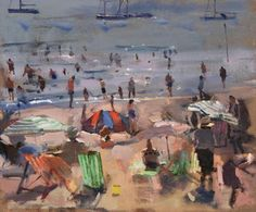 Bathers and Moored Yachts by Richard Pikesley