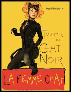 Le Chat Noir by Zulubean on DeviantArt Halloween Pin Up, Catwoman, Gotham, Deviantart, Inspiring Art, Random Stuff, Fun, Movie Posters, Tattoo
