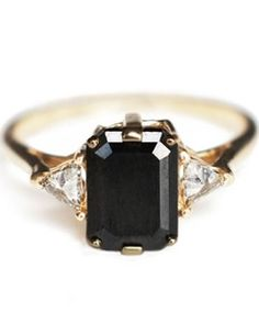 Loving black diamonds...  Emerald cut black diamond ring.