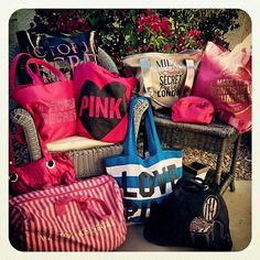 Got All of My Victoria Secret Bags Ready-To-Go for a Fabulous Summer Trip!! (did I mention, I LUV VS BAgs!) Cristina Instagram