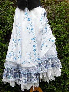 Quirky skirt hitch boho folk dance free size lagenlook hippy peasant gypsy wicca