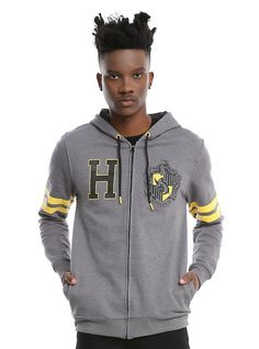 Harry Potter Hufflepuff Athletic Hoodie, GREY Men's Medium