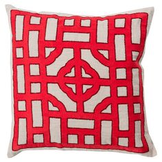 Add a pop of pattern to your sofa or settee with this lovely linen pillow, showcasing a geometric-inspired motif in Tibetan red. Pr...