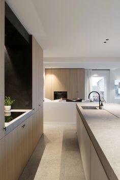 Versatile Office for Architecture & Interior Design led by Hannes Decancq & Emilie Otté. Minimal Kitchen Design, Kitchen Room Design, Interior Design Kitchen, Kitchen Decor, Kitchen Living, Living Room, Küchen Design, Home Design, Home Decor Trends