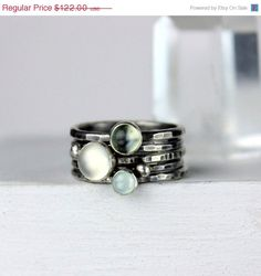 ON SALE Silver Stacking Rings with Moonstone and Aquamarine, Stackable Ring Set, Recycled Sterling