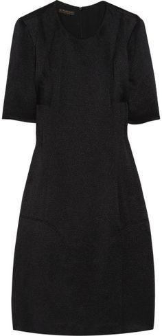 Burberry Prorsum Woven Silk-blend Dress in Black